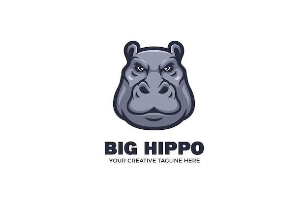 Modello di logo mascotte dei cartoni animati con testa di ippopotamo