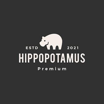 Logo vintage di ippopotamo hipster