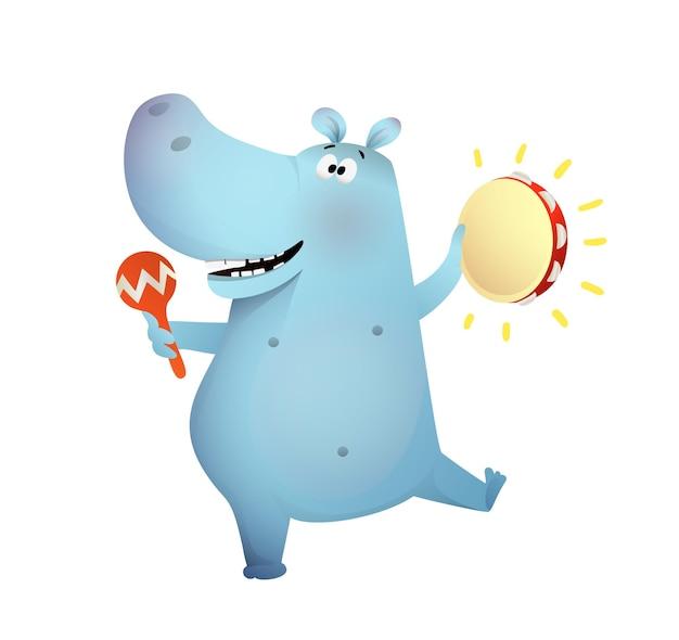 Ippopotamo che suona tamburello e maracas e balla un divertente ippopotamo sorridente che suona musica divertendosi