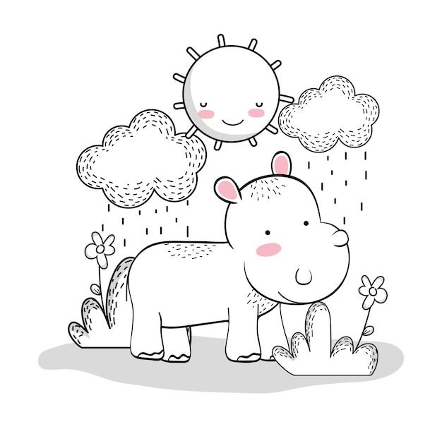 Ippopotamo con sole felice e nuvole piove