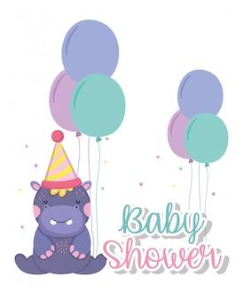 Ippopotamo con cappello e palloncini per festeggiare la baby shower