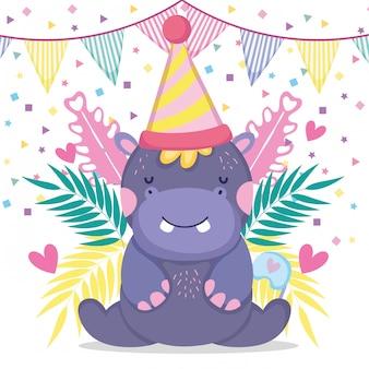 Ippopotamo con banner festa per celebrare baby shower
