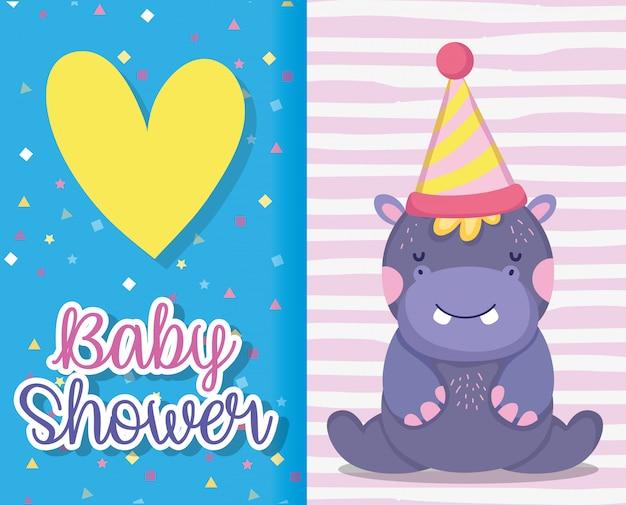 Ippopotamo con cappello da festa per baby shower card