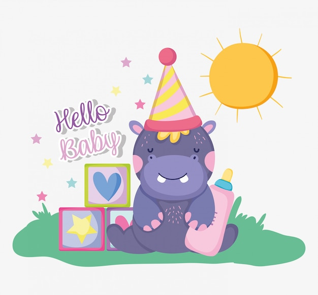 Ippopotamo con cappello da festa per baby shower festeggiare Vettore Premium