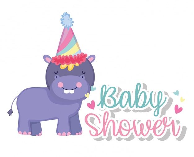 Ippopotamo con il cappello del partito nella celebrazione della doccia di bambino