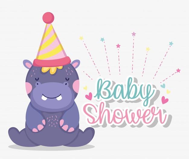 Ippopotamo con cappello da festa per celebrare la baby shower