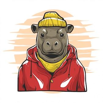 Illustrazione di moda hype di ippopotami