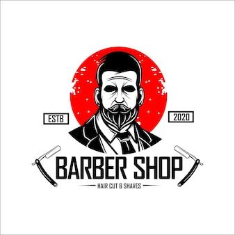 Modello con logo del negozio di barbiere hipster