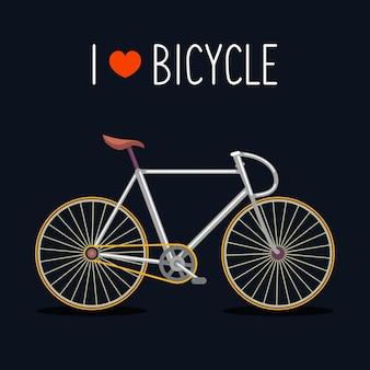 Bicicletta hipster in stile piatto alla moda con testo i love bicycle.