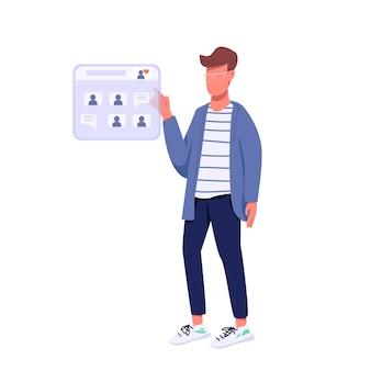 Personaggio senza volto di colore piatto in chat online hipster. stile di vita di generazione z, social network. ragazzo caucasico navigare in internet isolato fumetto illustrazione per web design grafico e animazione