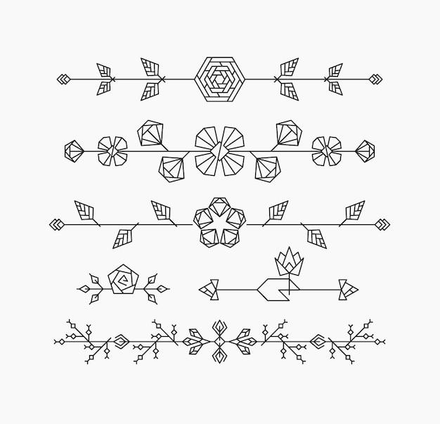Fiori geometrici hipster, elementi di design decorativo floreale, set di intestazioni ornamentali isolate, divisori