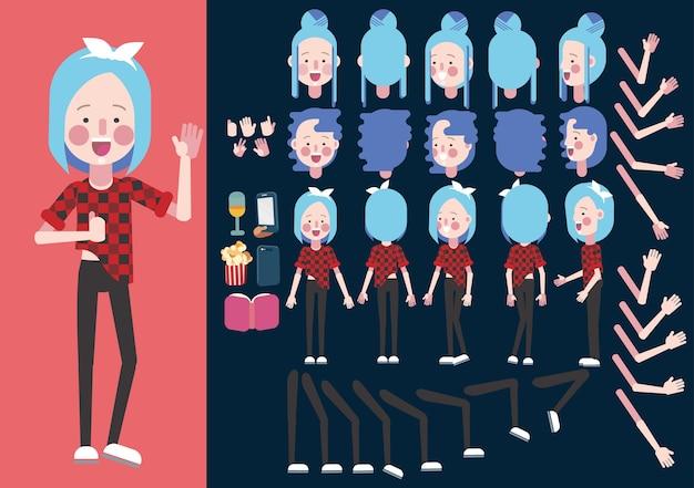 Set di creazione di ragazza hipster.