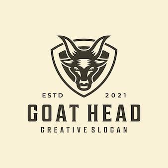 Modello di logo creativo dell'emblema del distintivo di capra hipster