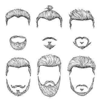Taglio di capelli hipster. acconciature vintage disegnate a mano. barbe uomo isolato e modelli di baffi