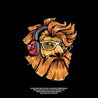 Modello di logo leone hipster