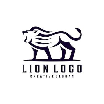 Modello di logo creativo semplice leone hipster