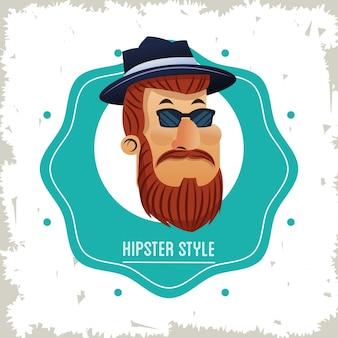 Cartone animato uomo hipster