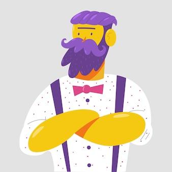 Illustrazione del fumetto del carattere dell'uomo hipster isolato su priorità bassa.