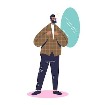 Uomo dei pantaloni a vita bassa che osserva nello specchio dopo l'illustrazione di taglio di capelli o barba