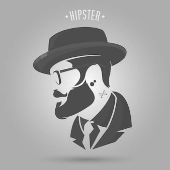 Vintage uomo hipster con design del cappello