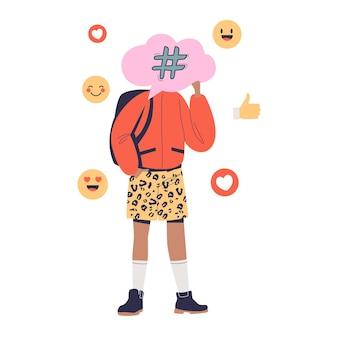 Uomo millenario hipster che condivide le emozioni nelle reti di social media. giovane ragazzo che pubblica un blog nell'applicazione di comunicazione. cartoon piatto illustrazione vettoriale cartoon