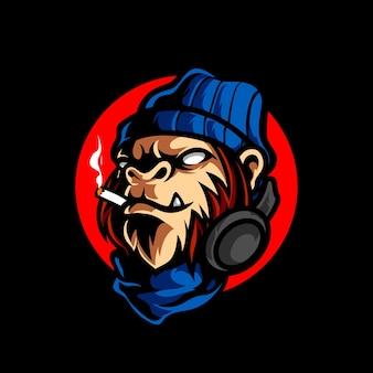 Logo mascotte testa di scimmia hipster