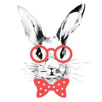 Coniglio hipster. ritratto di schizzo ad acquerello disegnato a mano