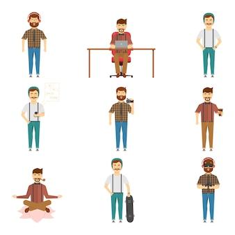 Insieme dei caratteri dei pantaloni a vita bassa in vestiti alla moda con i baffi o la barba e dispositivi alla moda isolati