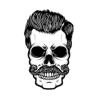 Cranio di hipster con acconciatura. elemento per poster, stampa, emblema, segno, banner, etichetta. illustrazione