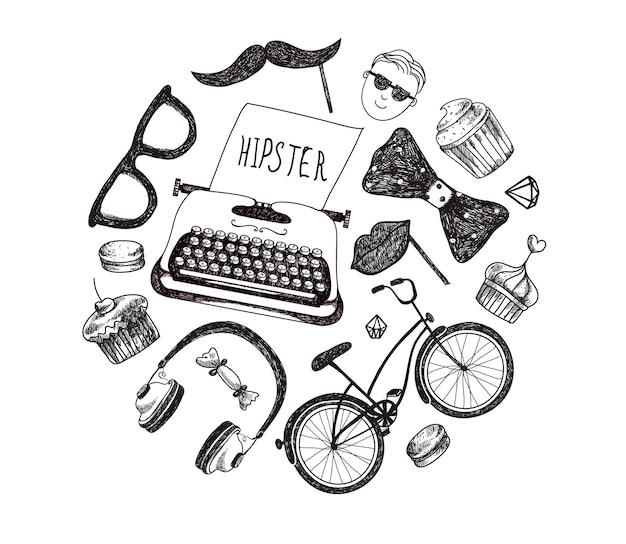 Elementi e icone di infographics di stile hipster impostati per il retro. bicicletta, occhiali da sole, baffi, macchina da scrivere, cuffie, papillon. isolato