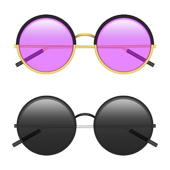 Illustrazione di occhiali da sole hipster isolato su priorità bassa bianca