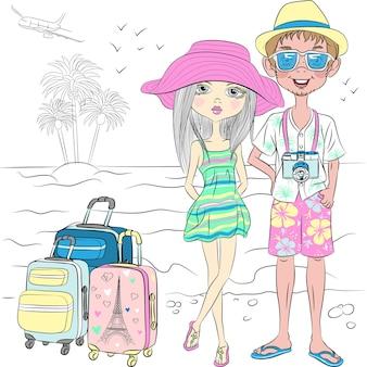 Ragazzo e ragazza viaggiatore hipster con valigie sulla spiaggia del mare