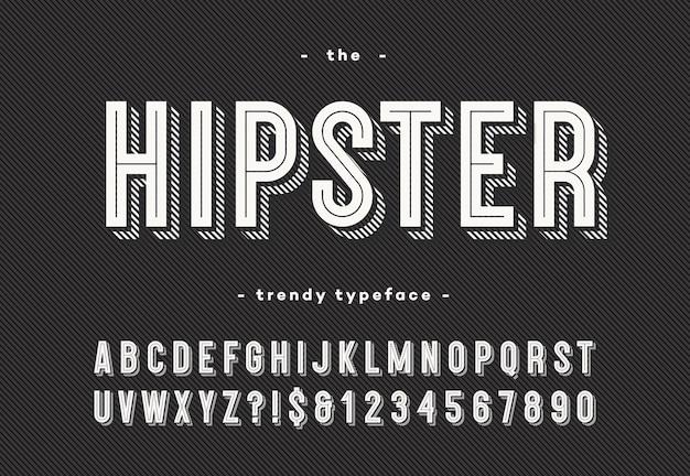 Carattere tipografico alla moda hipster in grassetto stile 3d
