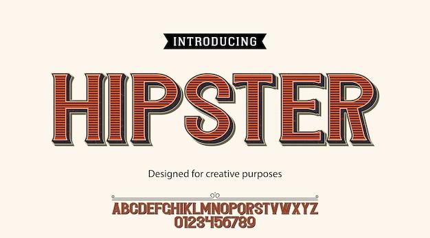 Carattere tipografico hipster. per scopi creativi