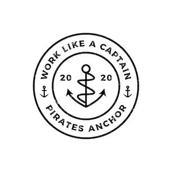 Modello di progettazione del logo della linea di ancoraggio vintage retrò grunge hipster