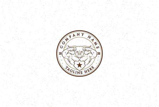 Hipster vintage retrò muscolare bull longhorn sport palestra fitness logo design vector