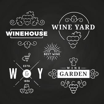 Logo di vino hipster o banchieri di design sulla lavagna