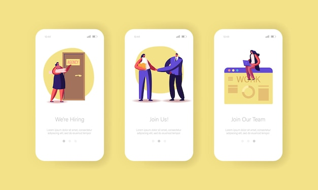 Modello di schermata di bordo della pagina dell'app per dispositivi mobili dell'agenzia di assunzione