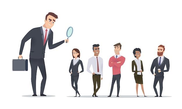 Concetto di assunzione. responsabile delle risorse umane alla ricerca di dipendenti. cartoon uomini d'affari illustrazione vettoriale. risorse umane e assunzioni, candidato al reclutamento aziendale
