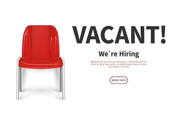 Concetto di assunzione. sedia rossa vacante. modello web di reclutamento di lavoro. illustrazione di posto vacante vacante. posto vuoto vacante, assunzione e reclutamento di talenti