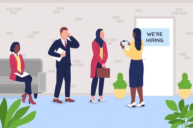 Assunzione di illustrazione piatta. processo di reclutamento.