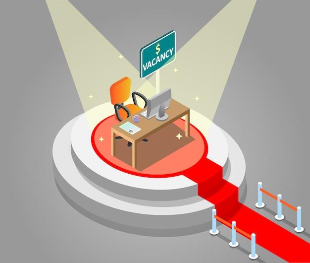 Assumere l'illustrazione isometrica di vettore di concetto di lavori