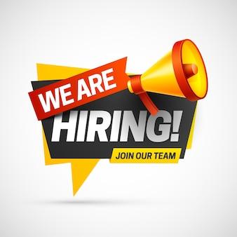 Assunzione reclutamento posto vacante aperto modello di etichetta info design stiamo assumendo unisciti al nostro team annuncio team