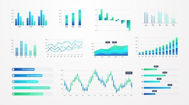 Grafici dell'istogramma. modello di infografica aziendale con diagrammi azionari e barre statistiche, grafici a linee e grafici per presentazioni e report finanziari. set di grafici vettoriali sul cruscotto