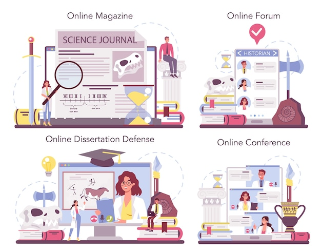 Servizio online storico o set di piattaforme