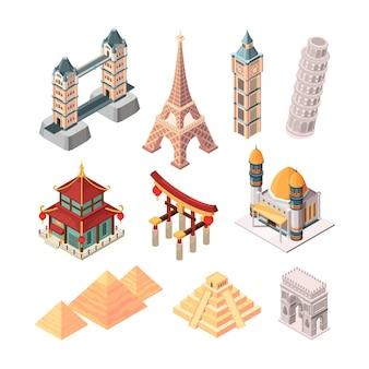 Famosi monumenti storici. simboli isometrici per i viaggiatori edifici statua ponti piramide collezione di punti di riferimento in tutto il mondo. paesaggio urbano turistico dell'illustrazione, tempio dell'attrazione di vacanza