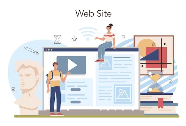 Servizio o piattaforma online di storia dell'istruzione scolastica. studente che studia