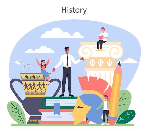 Concetto di storia. materia scolastica di storia. idea di scienza e istruzione. conoscenza del passato e dell'antico.