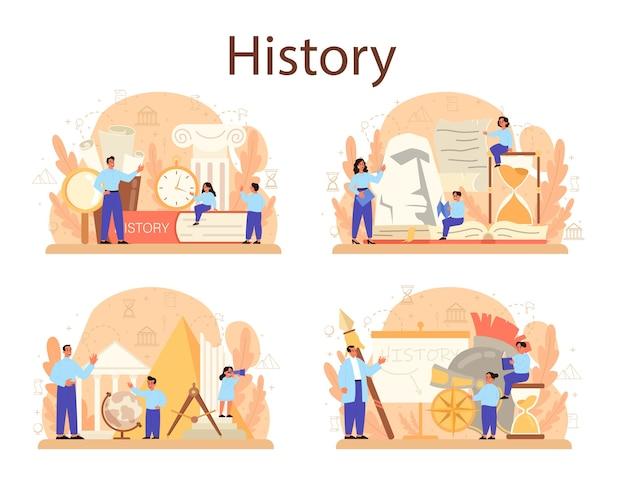 Insieme del concetto di storia. materia scolastica di storia. idea di scienza e istruzione. conoscenza del passato e dell'antico.