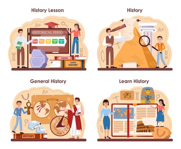Insieme di concetti di lezione di storia. materia di storia, conoscenza del passato